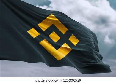 Binance Coin Flag Symbol. 3D Illustration Of Gold Binance Coin Written Flag. 3D Rendering.