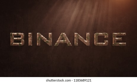 Binance Coin Letter Deformed Old Stones And Growing Leaves On The Old Wall Background. Stone Binance Coin Letter. 3D İllustration.
