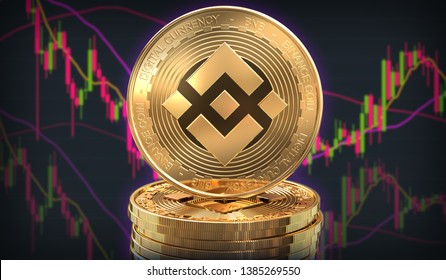 Binance coin stacked on a pile with trading charts behind in the background. 3D Rendering.