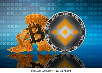 Binance coin stands in front of cracked coin bitcoin on binary code background; binance leader; bitcoin collapse