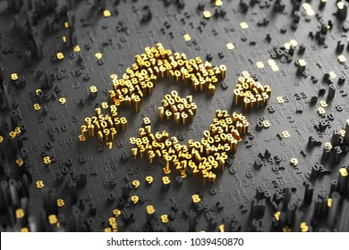 Binance Coin Symbol. 3D Illustration of Gold Binance Coin Logo on the Black Digital Background With Scatter of Digits.