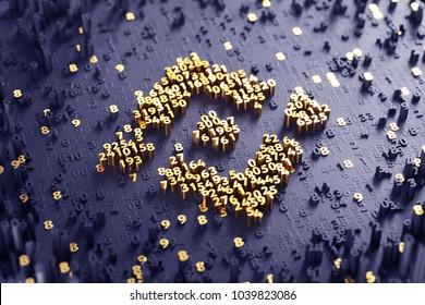 Binance Coin Symbol. 3D Illustration of Gold Binance Coin Logo on the Violet Digital Background With Scatter of Digits.