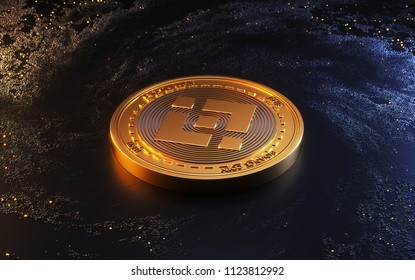 Binance Coin Symbol. 3D Illustration of Gold Binance Coin Logo on the Black Digital Background.3D rendering.