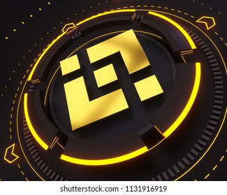 Binance Coin Symbol. 3D Illustration of Gold Binance Coin Logo on the Black Digital Background and Yellow Glow Shape.