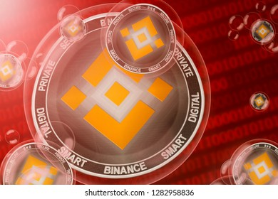 Binance crash; binance coins in a bubbles on the binary code background. Close-up. 3d illustration