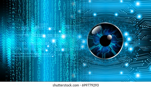 binary circuit future technology, blue eye cyber security concept background, abstract hi speed digital internet.motion move blur. pixel.