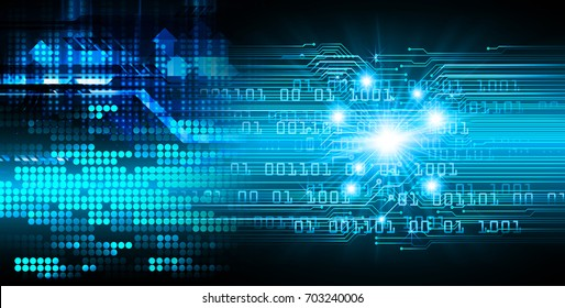 binary circuit future technology, blue cyber security concept background, abstract hi speed digital internet.motion move blur. pixel. arrow