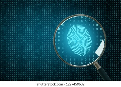 Binary code backdrop with magnifier and finger print. Biometrics and computing concept. 3D Rendering