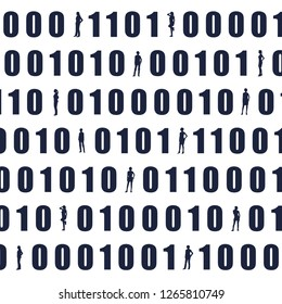 Binary code background with silhouettes of women. Algorithm binary, data code, decryption and encoding, row matrix