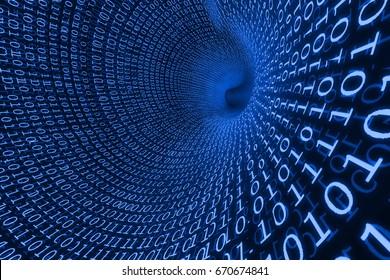 Binary code blue tunnel