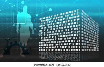Binary code concept. Algorithm binary, data code, decryption and encoding, row matrix. Muscular man silhouette