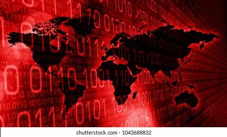 Binary code numbers zero one and world map