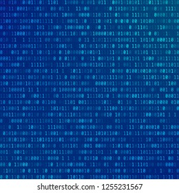Binary computer code. Abstract Technology background. Stream of zeros and ones. Programming encoded information. Matrix of numbers on blue background. illustration