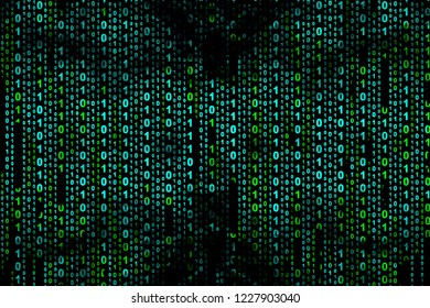 Binary computer code on black background, abstract illustration