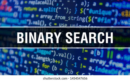 Binary Search concept with Random Parts of Program Code. Binary Search with Programming code abstract technology background of software developer and Computer script. Binary Search Background concept