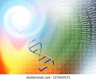 Binary tunnel and DNA Strand in Vivid Colors. 3D rendering