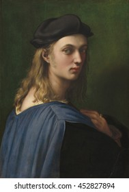 Bindo Altoviti, by Raphael, c. 1515, Italian Renaissance painting, oil on panel. Bindo Altoviti was a rich banker born in Rome in 1491. Altoviti's informal pose breaks from the standard bust pose. Th