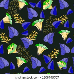 Bindweed.Light flowers of bindweed on dark brown background.Purple leaves and grass.For printed materials and textiles.