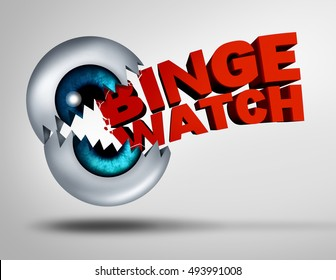 Binge watch concept and watching consecutive cable episodes of a television or TV series or multiple movie on demand as a marathon viewing of video media as a 3D illustration of an eye ball.