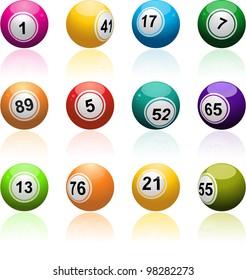 bingo ball set reflected on a white background