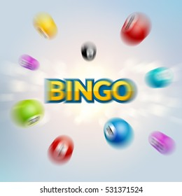Bingo lottery poster. Balls numbers falling luck concept. Lottery game background. Zoom blurred effect.