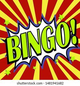 Bingo, wording in comic burst background