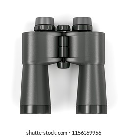Binoculars on white background, top view. 3D illustration
