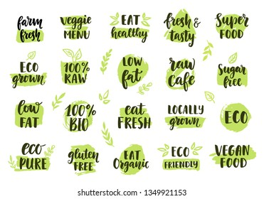 Bio, eco, organic logos set. Labels, emblems, stickers, stamps design. Ecology healthy eating logo for raw cafe, vegan menu, gluten free food, fresh farm product. Hand drawn lettering, stains
