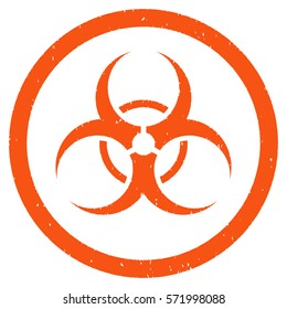 Bio Hazard grainy textured icon inside circle for overlay watermark stamps. Flat symbol with dust texture. Circled dotted glyph orange ink rubber seal stamp with grunge design on a white background.