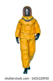 bio hazard man walking in a white background front view. This biohazard in clipping path is very useful for graphic design creations, 3d illustration