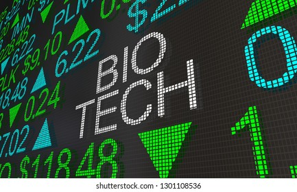 Bio Tech Health Care Stock Market Ticker Words 3d Illustration