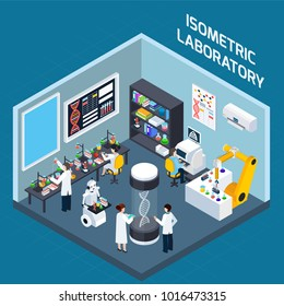 Biochemical laboratory interior isometric design concept with tools for genetics research and highly technological equipment flat  illustration