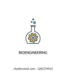 bioengineering concept 2 colored line icon. Simple yellow and blue element illustration. bioengineering concept outline symbol design