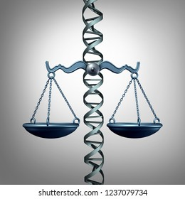 Bioethics and the law representing medicine and philosophy or medical ethics pertaining to gene editing or genetic biotechnology ethics and legislation as a 3D illustration.