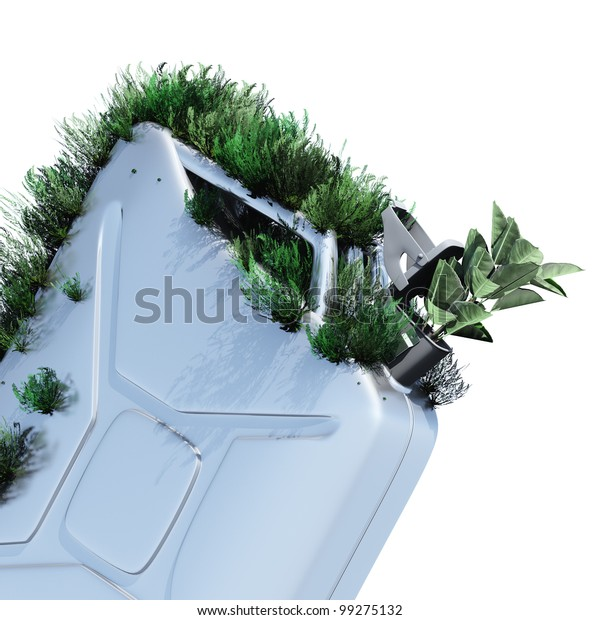 Biofuel.The metal canister on which grows a grass. Concept of ecological fuel.l