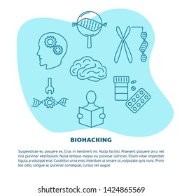 Biohacking concept banner with icons in line style. DIY biology theme poster with place for text.