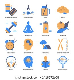 Biohacking icons set in flat style. Health improvement theme symbols. DIY biology concept.