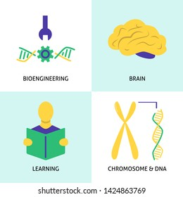 Biohacking icons set in flat style. DIY biology concept symbols collection.