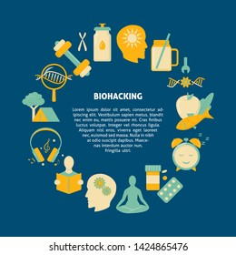 Biohacking round concept banner with icons in flat style. DIY biology theme poster.