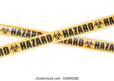 Biohazard Barrier Tapes, 3D rendering isolated on white background