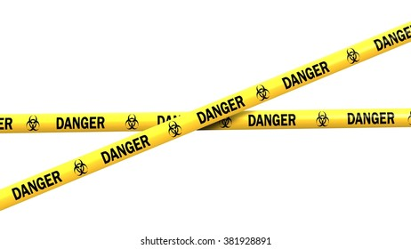 biohazard danger tape - isolated on white