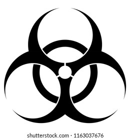 Biohazard symbol isolated on white background, black icon