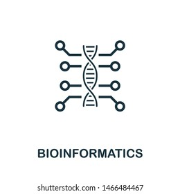 Bioinformatics icon illustration. Creative sign from science icons collection. Filled flat Bioinformatics icon for computer and mobile. Symbol, logo graphics.