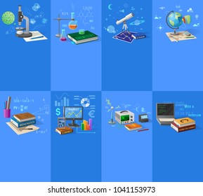 Biology and chemistry classes, astronomy and geography course, accurate maths, business economics, modern electronics and coding  illustrations.