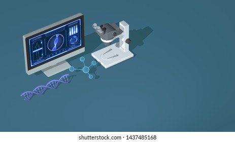 biology and genetics concept animation. new technologies, isometric view (3d render)