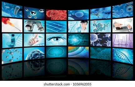 biology and medical images collage, 3d illustration