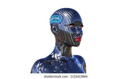 Biomechanical robot, female android connecting to internet, carbon fiber cyborg with technology implants, 3D rendering