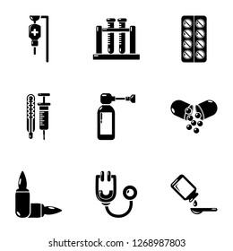 Biomedical icons set. Simple set of 9 biomedical icons for web isolated on white background