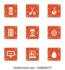 Biomedical science icons set. Grunge set of 9 biomedical science icons for web isolated on white background