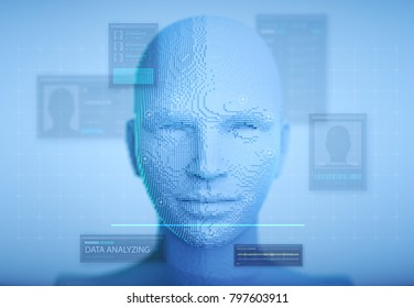 biometric facial recognition with hud information and no hair